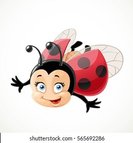 Cute cartoon ladybug fly on white background