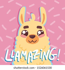 cute cartoon lama alpaca withbunique hand drawn lettering quote- llamazing- on pink backgroung with sprinkles.Vector Illustration. unique design for cards, posters, t-shirts, invitations