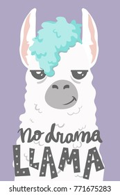 cute cartoon lama alpaca withunique hand drawn lettering quote- no drama llama.Vector Illustration. unique design for cards, posters, t-shirts, invitations