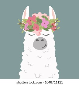 cute cartoon lama alpaca in wreath of flowers.Vector Illustration. unique design for cards, posters, t-shirts, invitations