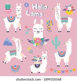 Cute cartoon lama set with cactus rainbow mountains vector design on white