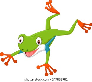 Cute cartoon leaping frog