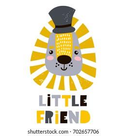 Cute cartoon leon boy in hat. Childish print for nursery, kids apparel,poster, postcard. Vector Illustration