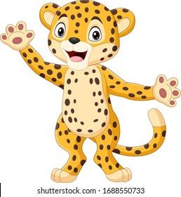 Cute cartoon leopard waving hand