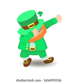 Cute cartoon leprechaun dabbing. Illustration for St. Patrick's Day isolated on a white background.