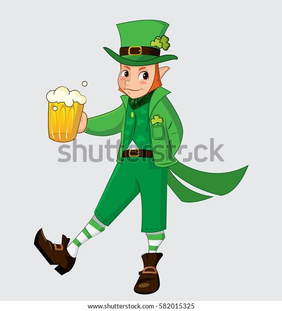 Cute cartoon leprechaun for saint patrick day. Vector illustration