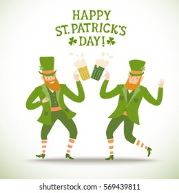 Cute cartoon leprechauns with beer. Including decorative title. St. Patrick's Day illustration for your design.