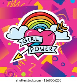 Cute cartoon lgbt gay rainbow and girl power feminism heart illustration print design with bright pink hipster trendy gradient background. Sticker patch badge illustration