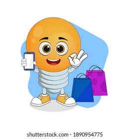 Cute Cartoon Light Bulb with Smartphone and Shopping Bags, Good Design For Characters Theme