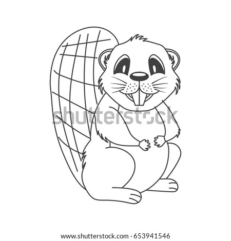 Cute Cartoon Linear Beaver Template Coloring Stock Vector Royalty