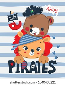 Cute cartoon lion and bear enjoying a pirate theme on striped background illustration vector.