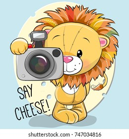 Cute cartoon Lion with a camera on a cheese background