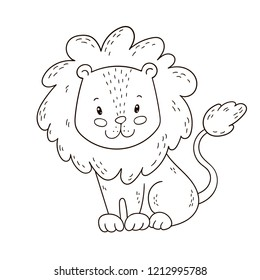 Cute Little Lion Outline Images Stock Photos Vectors Shutterstock Outline lion face in african map tattoo on full back. https www shutterstock com image vector cute cartoon lion coloring book page 1212995788