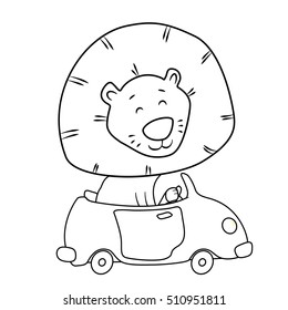Cute cartoon lion driving a car. Coloring page for kids. Outline drawing. Line art lion design. King of jungle contour coloring page. Funny cool awesome cartoon lion. Lion character design. Lion car.