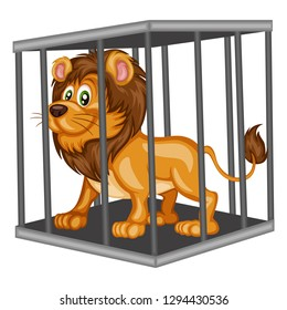 Cute Cartoon Lion Inside Steel Cage. Animals in the Cage. Isolated on White Background
