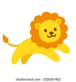 Cute cartoon lion jumping, funny vector illustration for kids.