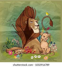 cute cartoon lion king with kid