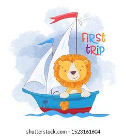 Cute cartoon lion on a sailing ship. Vector illustration