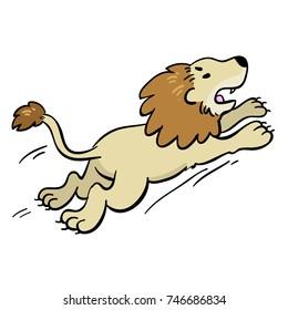 cute cartoon lion running or jumping