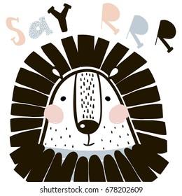 Cute cartoon lion in scandinavian style. Childish print for nursery, kids apparel,poster, postcard. Vector Illustration