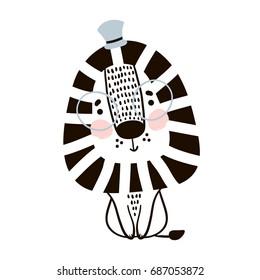 Cute cartoon lion in scandinavian style. Childish print for nursery, kids apparel, poster, postcard. Vector Illustration