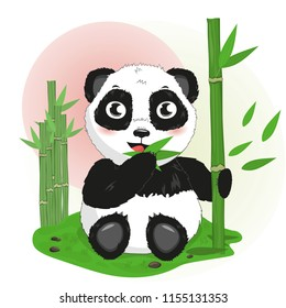 cute cartoon little animal Chinese panda bear eats bamboo, vector isolated illustration clipart