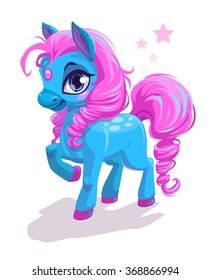 Cute cartoon little blue horse with pink hair, beautiful pony princess character, vector illustration isolated on white
