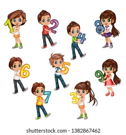 Cute Cartoon Little Boys and Girls Holding Numbers From One to Nine. Beautiful Young Male and Female Kids Wearing Beautiful Clothes Isolated on White Background