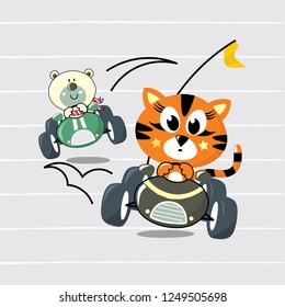 cute cartoon of little cat and cute bear drive racing car illustration vector