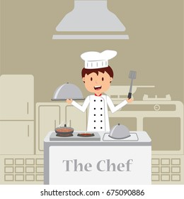 Cute cartoon of little chef cooking at kitchen.