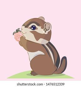Cute cartoon little Chipmunk keeps berries blackberries in the legs, vector illustration character