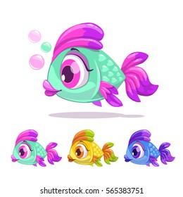 Cute cartoon little fish. Vector childish illustration.