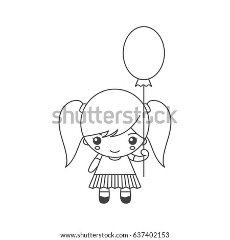 cute cartoon little girl with balloon vector template for coloring
