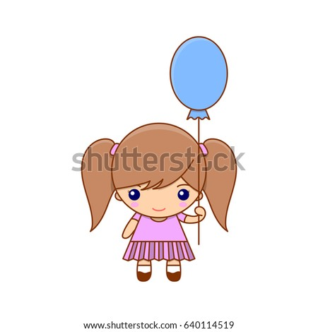 Royalty-free stock vector images ID  640114519. Cute cartoon little girl  with balloon and pretty dress. Vector illustration character - Vector aae30bf85563f