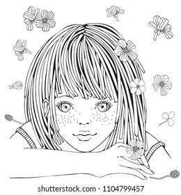 Cute cartoon little girl and flowers. Coloring book page for adult and children. Black and white vector.