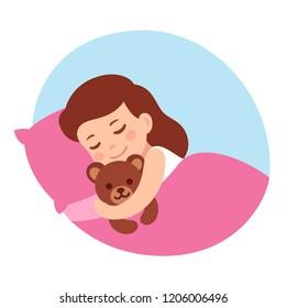 Cute cartoon little girl sleeping with teddy bear. Simple vector illustration.