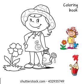 Cute cartoon little girl watering flower. Coloring book. Vector illustration.