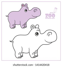 Cute cartoon little hippo color and outlined on a white background  for coloring page