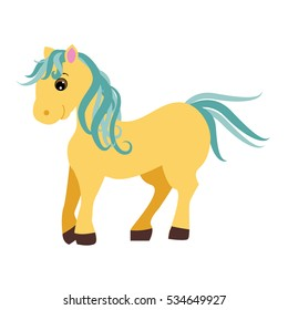 Cute cartoon little horse isolated on white background. Vector illustration of cute fantasy pony