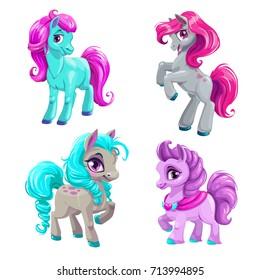 Cute cartoon little horses set. Isolated vector pony icons