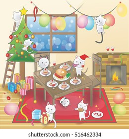 Cute cartoon of little kitten cats are celebrating a Christmas party. Christmas tree with ornament and cat activities in a decorated room with black space background for text (cartoon vector).
