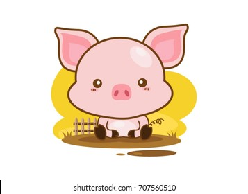Cute cartoon little pig on a white background