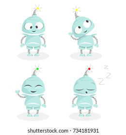 Cute cartoon little robot with different emotions. Funny character. Set of vector illustrations.