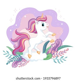 Cute cartoon little unicorn with magic plants. Vector isolated illustration. For postcard, posters, nursery design, greeting card, stickers, room decor, party, nursery t-shirt,kids apparel, invitation
