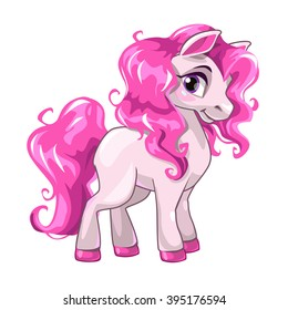 Cute cartoon little white baby horse with pink hair, vector illustration isolated on white, my little pony princess illustration