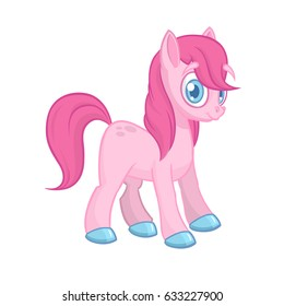 Cute cartoon little white baby horse with pink hair, beautiful pony princess character, vector illustration isolated on white