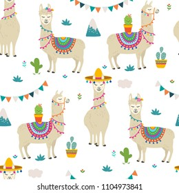 Cute cartoon llama alpaca seamless pattern vector graphic design. Hand drawn llama character illustration and cactus elements for nursery design, birthday, baby shower design and party decor, print