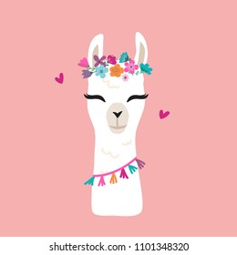 Cute cartoon llama alpaca vector graphic design. Hand drawn llama character head illustration with flower wreath for nursery design, poster, greeting, birthday card, baby shower design
