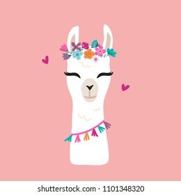 Cute cartoon llama alpaca vector graphic design. Hand drawn llama character head illustration with flower wreath for nursery design, poster, greeting, birthday card, baby shower design