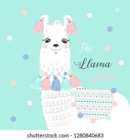 Cute cartoon llama alpaca vector graphic design Pink  The Cute Llama Loves Water Green